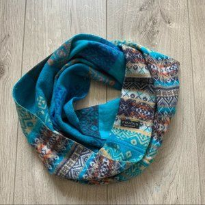 FRAAS cashmere blue Aztec print infinity scarf